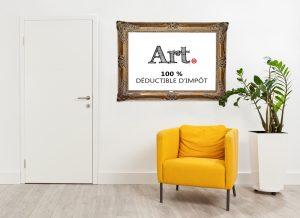 photo lieu affaires avec cadre qui donne info sur l'avantage fiscal d'acheter de l'art