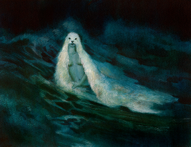 Painting of a seal woman in the sea