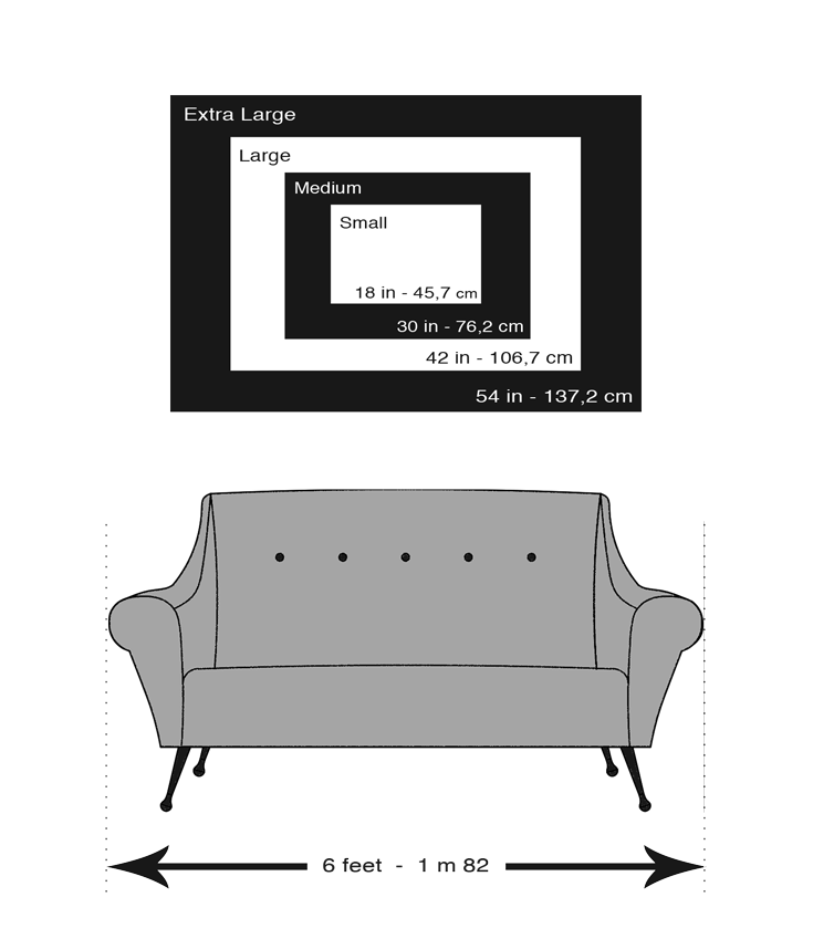 Digital drawing of a sofa with frame size examples above.