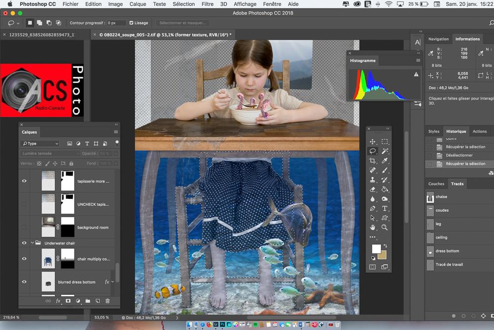 Vue d'un écran d'ordinateur avec le programme Photoshop de traitement numérique des images et une photo surréelle d'une enfant qui mange une soupe.