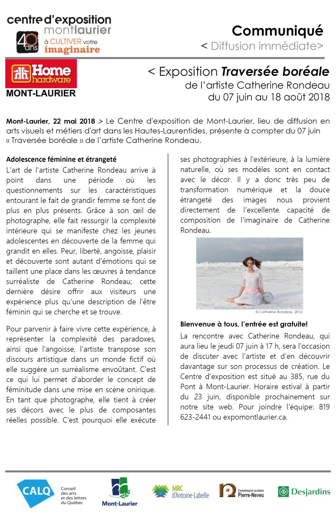 Communiqué de presse annonçant l'exposition de Catherine Rondeau au Centre d'exposition Mont-Laurier