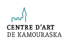 Drawing of a castle with the words Centre d'art de Kamouraska underneath.