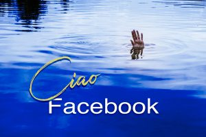 photo of hand waving from the water with text: CIAO FACEBOOK