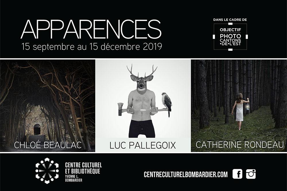 """carton d'invitation à l'exposition """"APPARENCE"""" au Centre culturel Yvonne L. Bombardier"""