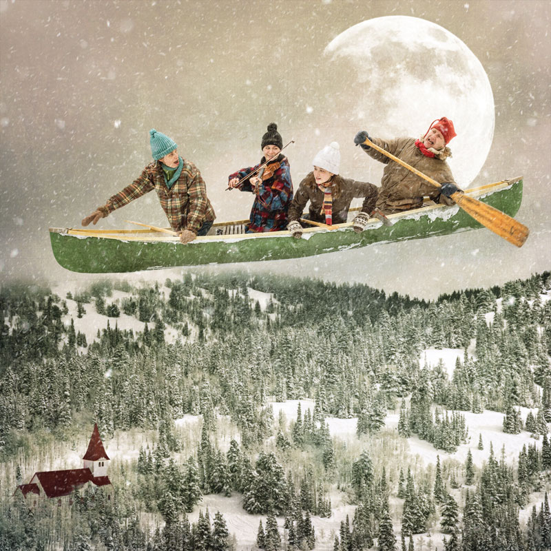 four people flying in a bewitched canoe above the pine tree line