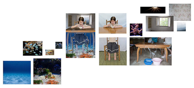 a series of photos deconstructing a photomontage of a child eating soup underwater