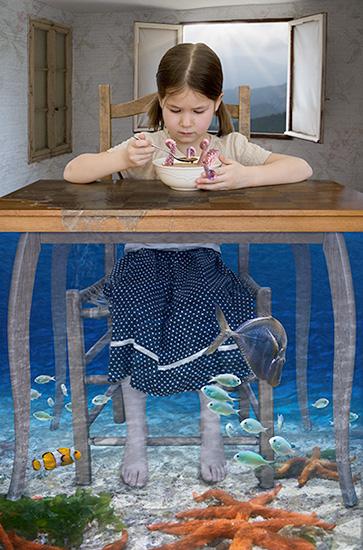 photomontage of a child eating soup in an underwater surreal setting